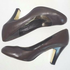 Brown Leather Round Toe Dress Heels Career Casual